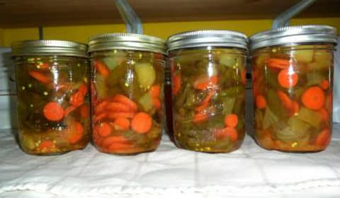 pickled jalapenos with onion and carrots