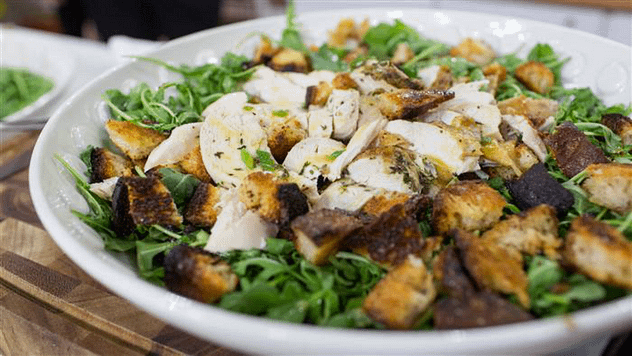 roasted chicken on bread and salad